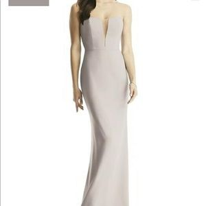 Dessy Group Taupe Strapless Evening Gown